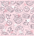 pink seamless patterns with cupcake croissant vector image vector image