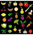 pixel-art fruit and vegetables on black vector image