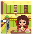 pretty girl eats a pie vector image