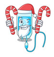 santa with candy infussion bottle mascot cartoon vector image vector image