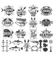 seafood labels logo and design elements vector image vector image