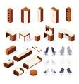 Set isometric furniture isolated
