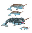 set of fantasy animals blue color isolated on vector image