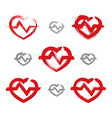 Set of hand-drawn red heart icons collection of vector image vector image