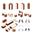 set of isometric furniture isolated vector image