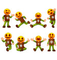 set of kid wearing pumpkin mask vector image vector image