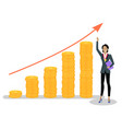 successful businesswoman and growing investments vector image vector image