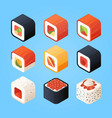 sushi isometric various rolls sushi and other vector image vector image