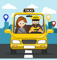 taxi carries the girl to the address vector image