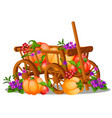 the wooden cart is filled with a harvest of ripe vector image