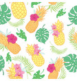 tropical pineapples seamless repeat pattern vector image vector image