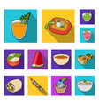 vegetarian dish flat icons in set collection for vector image