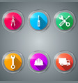 wrench screwdriver dividers helmet car icon vector image