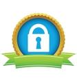 Gold lock logo vector image