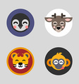 A set of four colored flat icons of animal heads vector image vector image