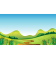 A winding road and mountains vector image vector image