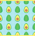 avocado seamless pattern on checkered background vector image