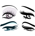 Beautiful girls eyes set vector image