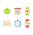 bicycle and apple fruit set vector image vector image