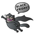 black friday super cat flies and shout vector image vector image