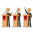 blonde businessman suit giving a speech vector image