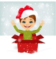 boy coming out of inside christmas gift box vector image