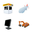Cars information television and other web icon vector image