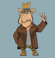 cartoon man in coat and hat shows two fingers vector image