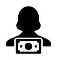 cash icon female user person profile avatar symbol vector image