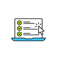 checklist browser window check mark white tick on vector image