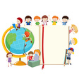 Children with globe and book vector image vector image