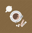 coffee with crema and tea spoon on saucer vector image vector image