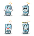 collection of phone character cartoon style set vector image vector image