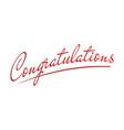 congratulation lettering for congratulations card vector image vector image