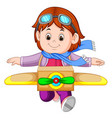 cute little girl playing with plane toys vector image