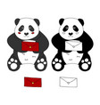 cute panda with red letter vector image vector image
