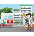 Doctor and hospital vector image vector image