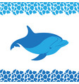 dolphin icon frame pattern from sea pebbles vector image