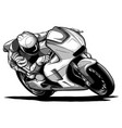 draw motorcycles racers biker vector image