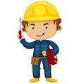 Electrician with screwdriver and helmet vector image vector image