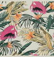exotic jungle tropical plants pink flamingo vector image
