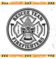 firefighters round emblem with fire hydrant vector image vector image