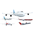 Five designs of airplanes vector image vector image