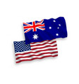 flags of australia and america on a white vector image vector image