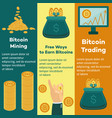 flat bitcoin mining trading posters set vector image