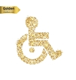 Gold glitter icon of wheelchair isolated on vector image