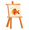 goldfish on wooden canvas vector image