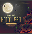 halloween night pumpkins on the moon background vector image vector image