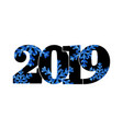 happy new year card black number 2019 with blue vector image vector image