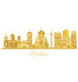 harbin china city skyline golden silhouette vector image vector image